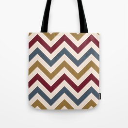 Funky Zigzag Pattern Gold Red Blue Cream Tote Bag