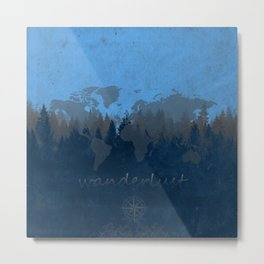 world map wanderlust forest blue Metal Print