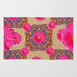 Fuchsia Gerbera Flowers & Grey Patterns Rug