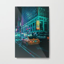 Taxi in the City (Color) Metal Print
