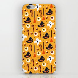 Happy halloween ghosts, brooms, eyeballs and witch hats pattern iPhone Skin