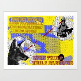 animal vs robot Art Print