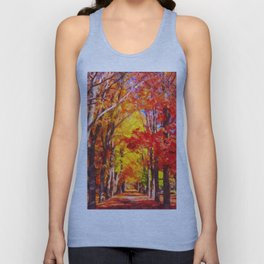 Falling leaves natural background Unisex Tank Top