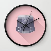 the grand budapest hotel Wall Clocks featuring The Grand Budapest Hotel · Inspector Henckels by Lorena G