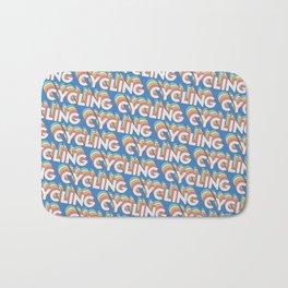 Cycling Trendy Rainbow Text Pattern (Blue) Bath Mat