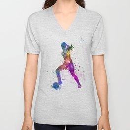 Girl playing soccer football player silhouette Unisex V-Neck