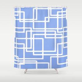 Retro Modern Rectangles On Summer Sky Blue Shower Curtain