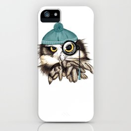 Owl eyeglass and cap iPhone Case
