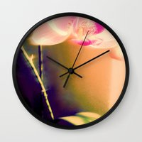 orchid Wall Clocks featuring orchid by Eva Lesko