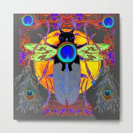 MYSTIC BLACK  BEETLE BLUE PEACOCK MOON ART Metal Print