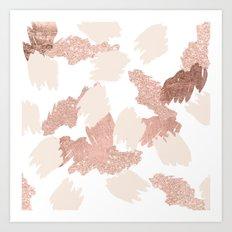 Modern rose gold faux glitter brushstrokes blush pink Art Print