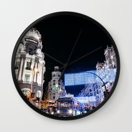 Gran Via Street at Night Wall Clock