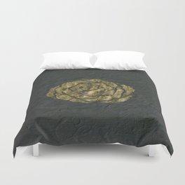 Golden Rose on Textured Canvas Duvet Cover