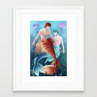 kuroko Framed Art Prints featuring Kagami & Kuroko by kvei