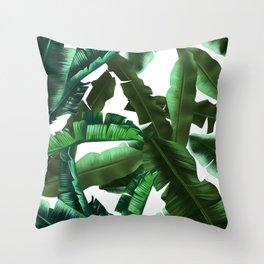 tropical banana leaves pattern 2 Throw Pillow