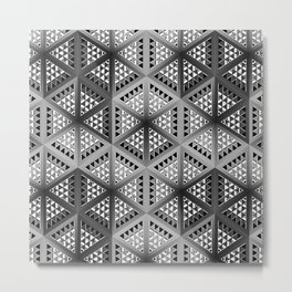 Monochrome decorative panels, with geometric patterns in the style of cubism. Metal Print