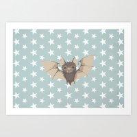 bat Art Prints featuring Bat by Mr & Mrs Quirynen