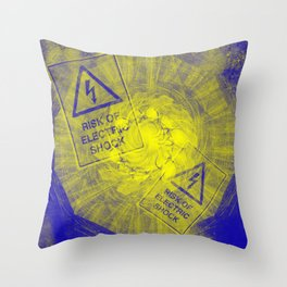 Abstract risk of electric shock Throw Pillow