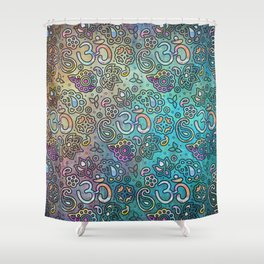 Pastel  Turquoise watercolor  OM symbol pattern Shower Curtain
