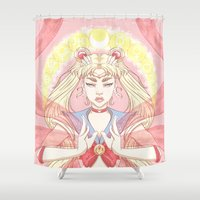 sailor moon Shower Curtains featuring sailor moon by Madeline Ormbrek