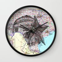 texas Wall Clocks featuring Texas by Ursula Rodgers