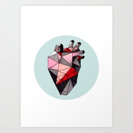 Minty Bubble Heart Art Print