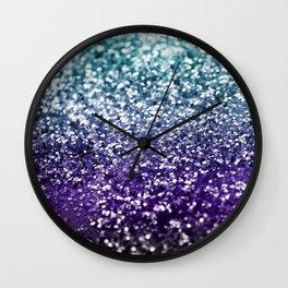 Aqua Purple Ombre Glitter #2 #decor #art #society6 Wall Clock