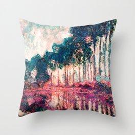 Monet Poplars Deep Pastels Throw Pillow