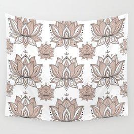 Lotus Mandala Doodle Pink Marble Pattern Wall Tapestry