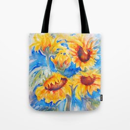 Sunflowers x 5 watercolor by CheyAnne Sexton Tote Bag