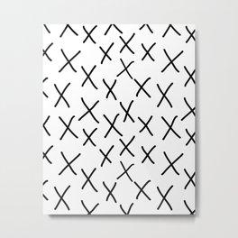 X - cross, plus, black and white, hand-drawn, graphic, bold, modern monochrome minimal design Metal Print