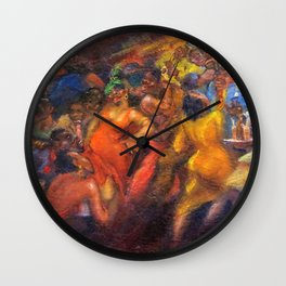 African American Masterpiece 'Jazz Club' by Jane Gibbs Wall Clock