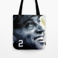 yankees Tote Bags featuring The Captain by Prehistoric Robot