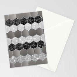 Silver Hexagon Glitter Glam #1 #geometric #decor #art #society6 Stationery Cards