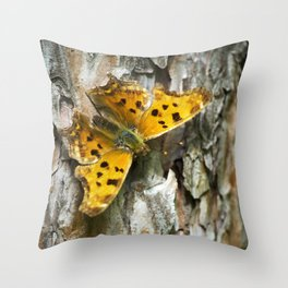 Butterfly on Bark Throw Pillow