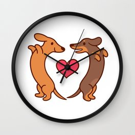 Cute cartoon dachshunds in love Wall Clock