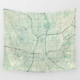 San Antonio Map Blue Vintage Wall Tapestry