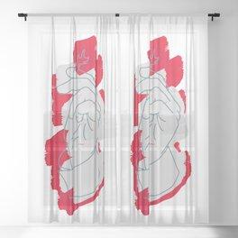 Smoke Break - Red + White Sheer Curtain