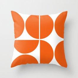 Mid Century Modern Orange Square Throw Pillow