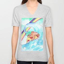 surfing sloth pizza rainbow Unisex V-Neck