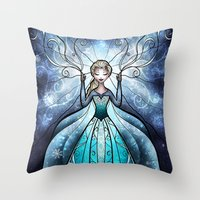 mandie manzano Throw Pillows featuring The Snow Queen by Mandie Manzano