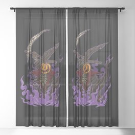 Pumpkin Grim Reaper - Scary Halloween Party Outfit Sheer Curtain