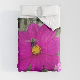 Bumble Bee in Flight against a Dark Pink Cosmos Flower Comforters