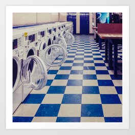 Laundry room at night Art Print