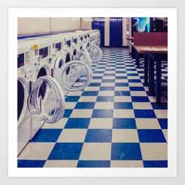 Laundry room at night Art Print