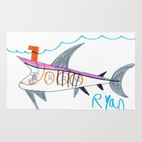submarine Area & Throw Rugs featuring Shark Submarine by Ryan van Gogh