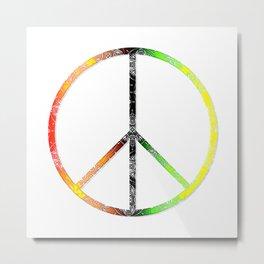 Rastafarian Lace Peace Sign Metal Print