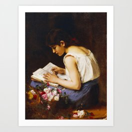 Alexej Alexejewitsch Charlamoff  -  A Girl Reading Art Print