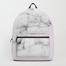 Real White Marble Half Baby Pink Modern Abstract Shapes Backpack