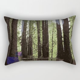 Northern California Redwood Forest Pixelart Rectangular Pillow